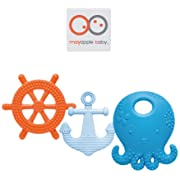 Mayapple Baby | Suri The Octopus & Friends Baby Teethers | 3-Stage Teething Toys, Silicone | Blueberry Color Set - 3 Teethers | Award-Winning, Patented