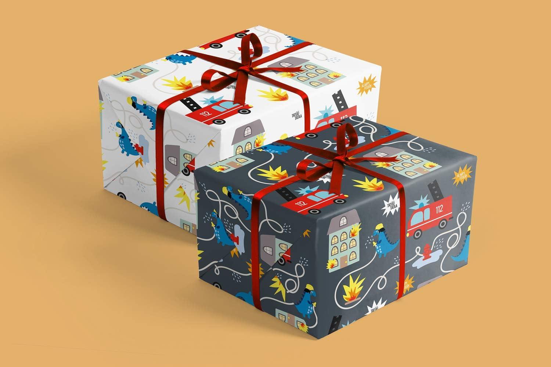 per ragazzi e ragazze 4 x carta da regalo Dinosauri per bambini: fogli doppi DIN A2 ecologico, carta riciclata Made in Germany + 1 x cartolina