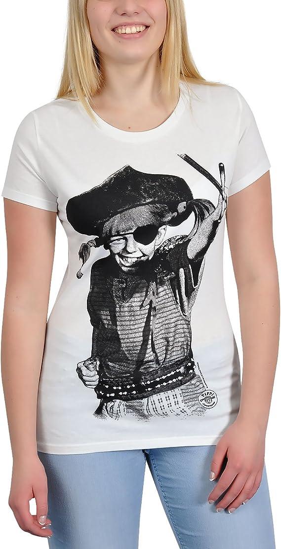 Pippi Calzaslargas - camiseta de Pippi pirata - para mujer, estampado retro, con la licencia oficial, ajustada, blanca crema - M: Amazon.es: Ropa y accesorios