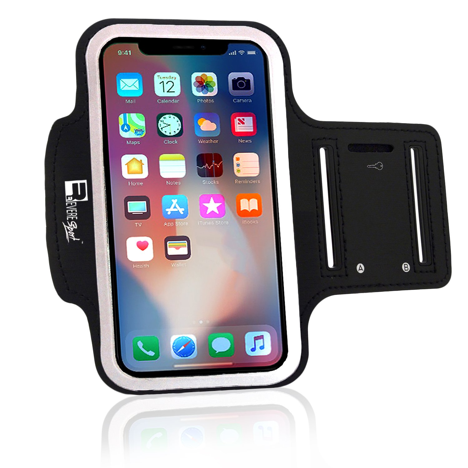 Premium iPhone X/10 Running Armband with Full Screen Access. Sports Phone Arm Case Holder for Jogging, Gym Workouts & Exercise by Revere Sport (Image #1)