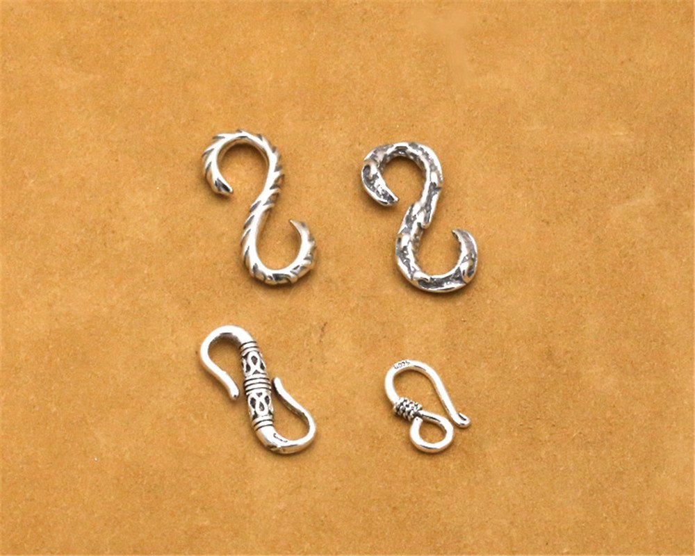 Luoyi Tibetan Style Thai Silver S-Hook Clasps (C011Y) (1#) by Luoyi