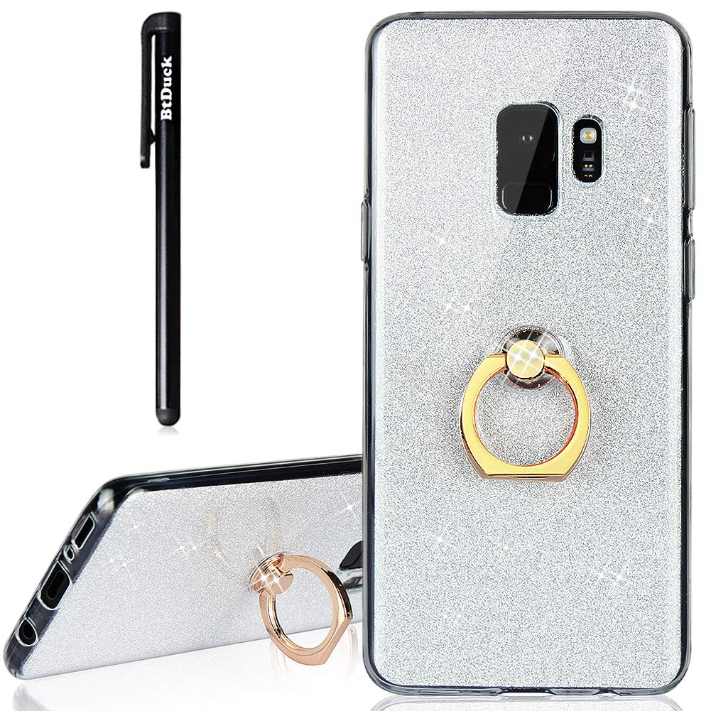 Galaxy S9 Case, Samsung S9 Case Glitter, BtDuck Soft TPU Silicone Case With Finger Grip Ring Stand Holder Phone Protector Shiny Bling Fashion Style Case Silver Clear View Crystal Cover Cute Case Gold Anti-slip Holster Skin Slim Fit Phone Protector Clear Ca
