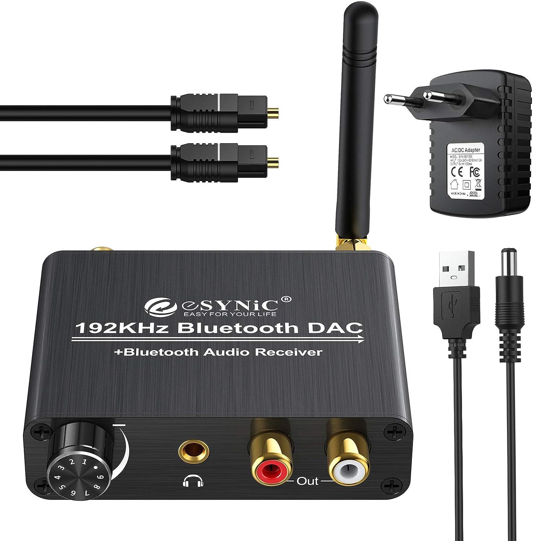 eSynic Bluetooth 5.0 192kHz Convertidor Digital a Analógico Receptor con Volumen Ajustable Cable Óptico Coaxial Toslink Adaptador de Audio Jack de 3,5 mm L/R RCA para PS3 HD DVD PS4 TV
