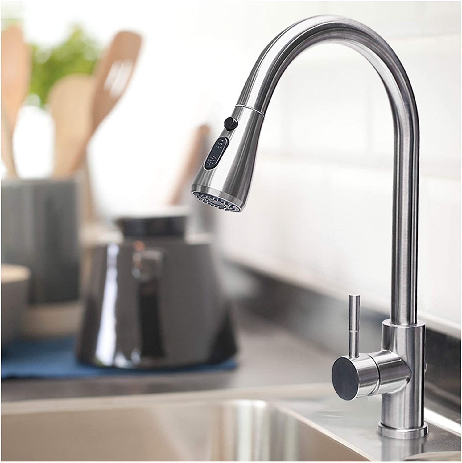 Rogsfn Modern High Arc Commercial Single Level Bar Faucet Pull Down Stainless Steel 1 Handle Brushed Nickel RV Kitchen Sink Faucet With Sprayer-straight