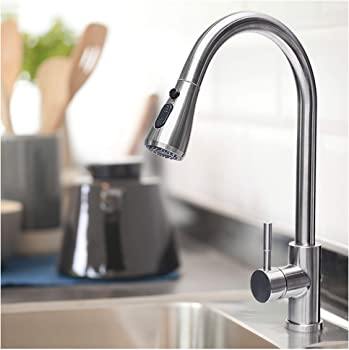 Rogsfn Modern High Arc Commercial Single Kitchen Sink Faucet