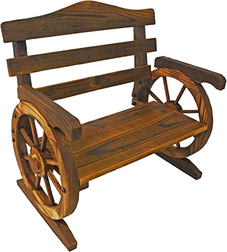 PierSurplus Rustic Wooden Wagon Wheel Design Junior Outdoor Bench Loveseat Chair Product SKU PF06110