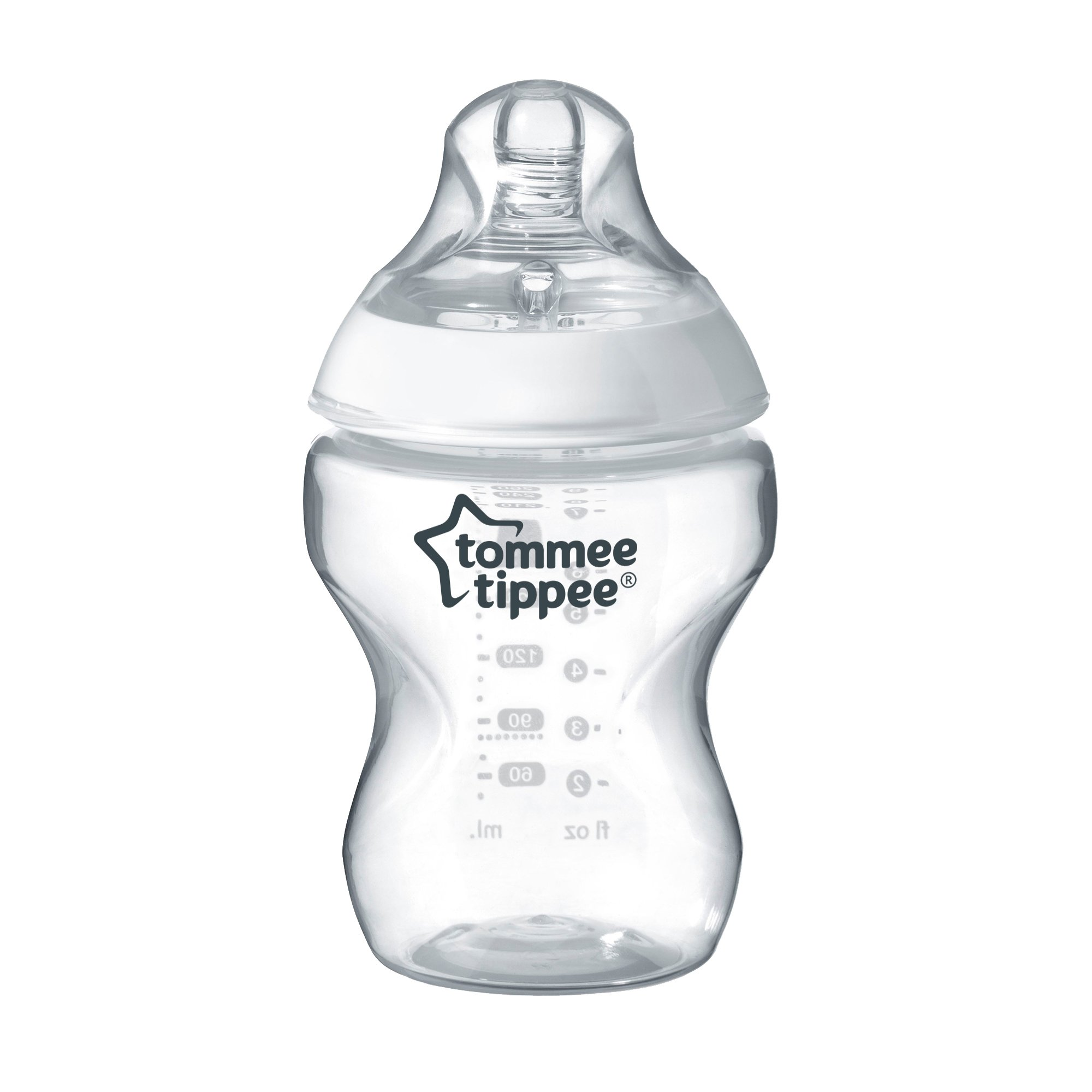 Tommee Tippee Closer to Nature Clear Baby Bottle, 260 ml, Pack of 1