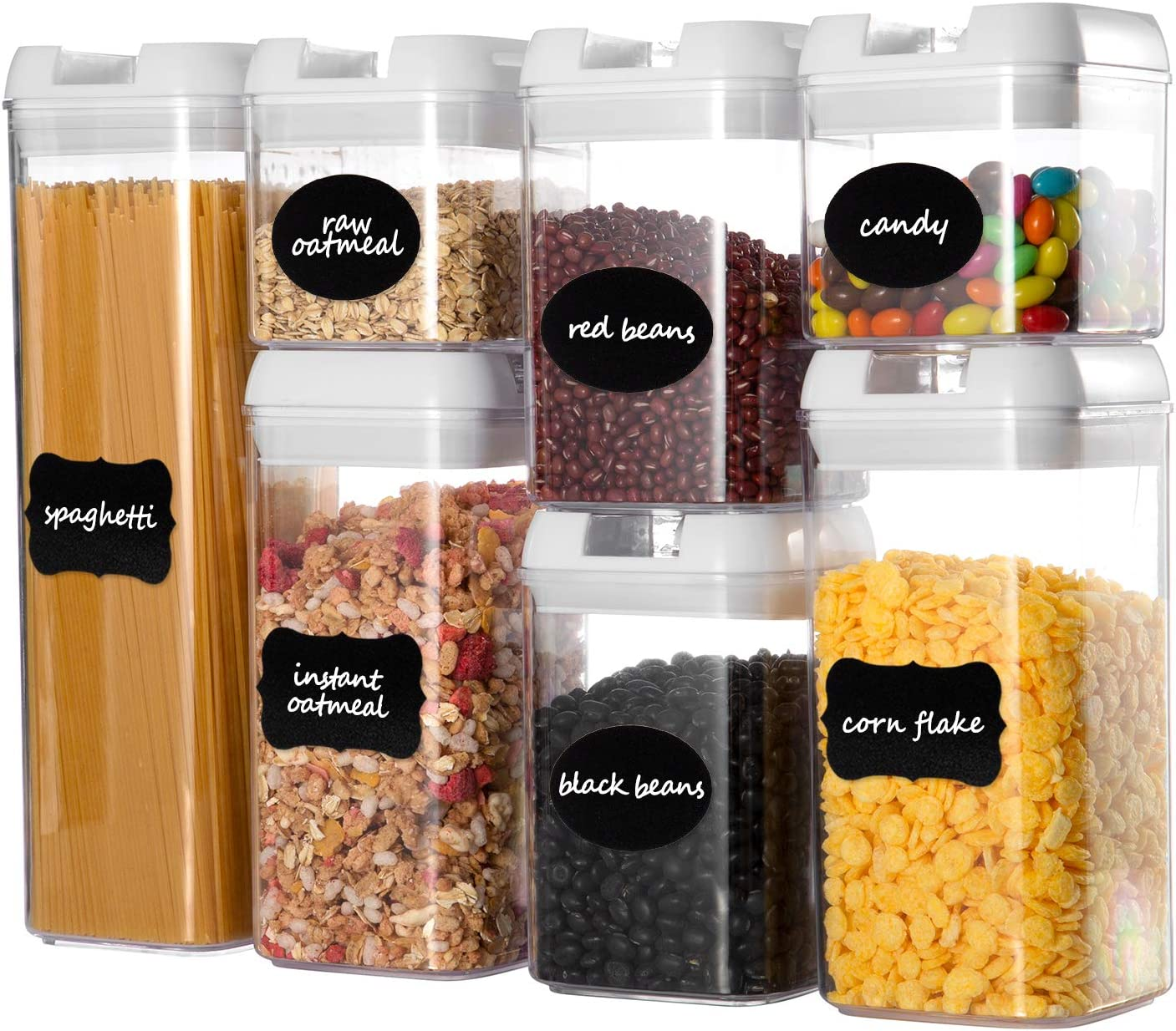 Airtight Food Storage Containers Set, Faite's 7 Pieces BPA Free Kitchen Storage Container with Easy Lock Lids,Plastic Sorage Bins with Durable Lids Ideal for Cereal, Flour & Sugar
