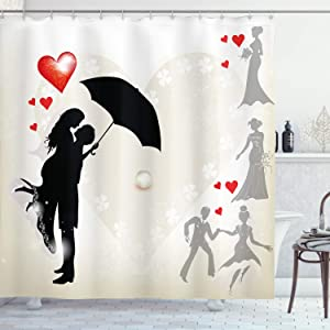 Ambesonne Wedding Shower Curtain, Couple in Love Umbrella Red Hearts Daisies Romance in The Air Celebration, Cloth Fabric Bathroom Decor Set with Hooks, 70