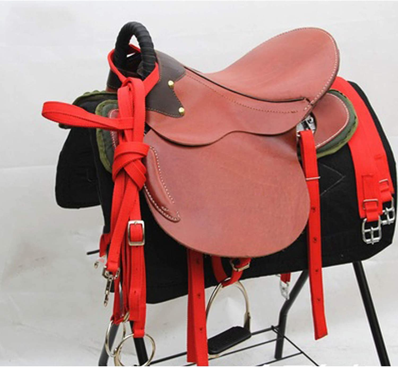 TNNT Conjunto completo de sillín integrado de sillín de caballo de Western Saddle Accesorios de montar ecuestre Cross Country Western Arnés West Universal rojo