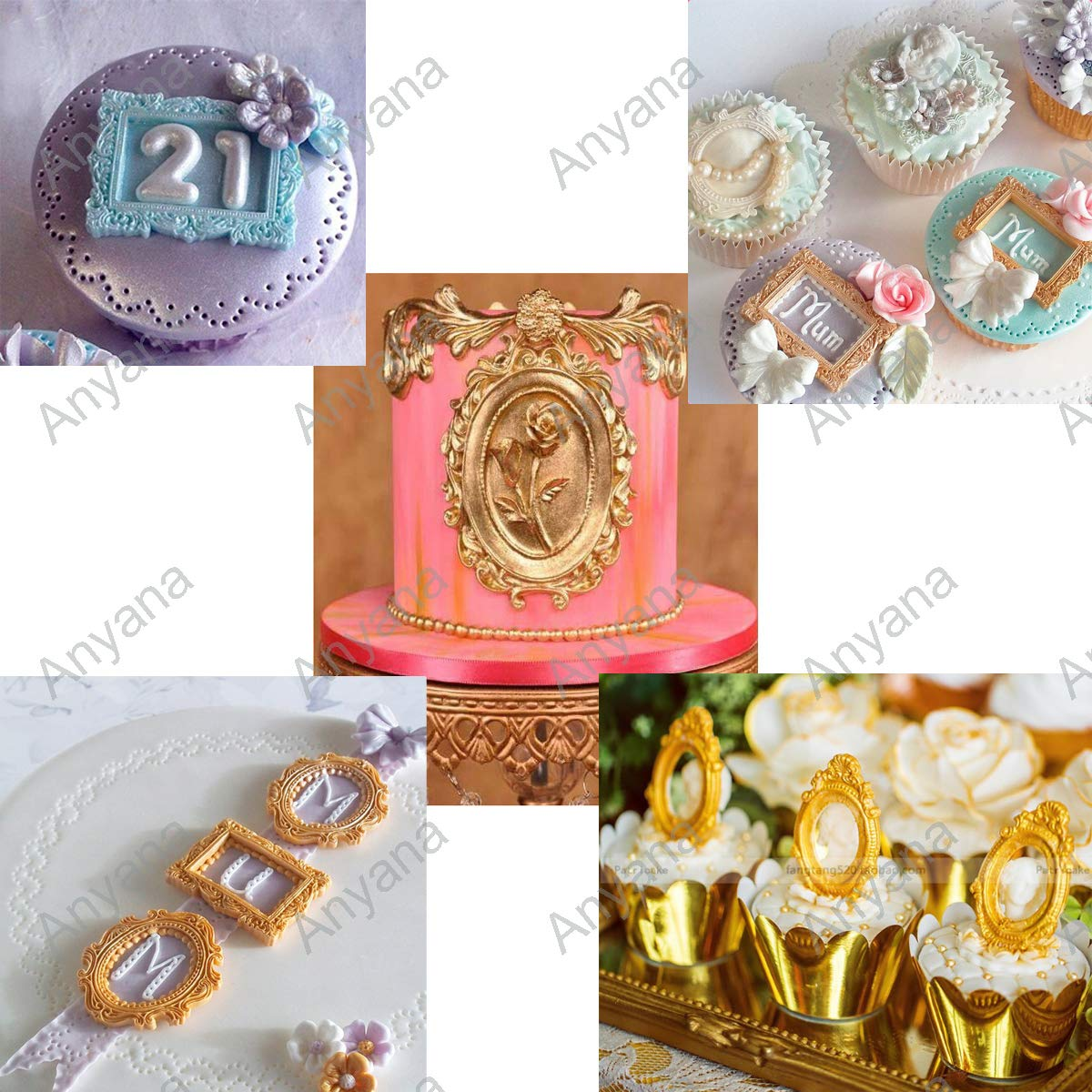 Anyana picture frame Baking Molds mirror frame Silicone Fondant molds wedding Cake Decorating Tools Gumpaste rectangle oval cupcake topper decorations resin Clay Chocolate Candy Molds set of 2