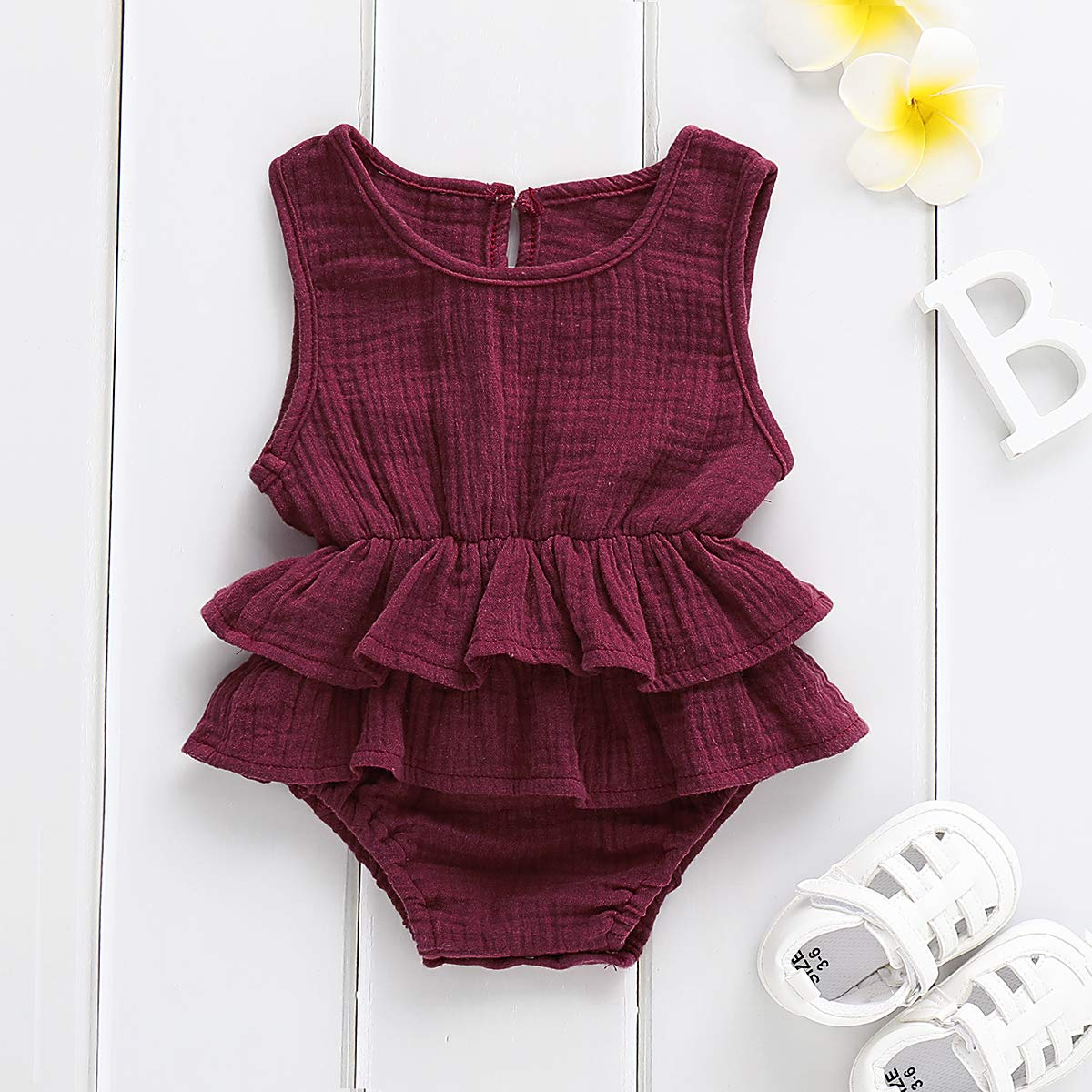 50e38b79eef5 Amazon.com  Bowanadacles Newborn Baby Girl Romper Jumpsuit Cotton Linen  Sleeveless Ruffled Bodysuit Infant Summer Clothes Outfits  Clothing