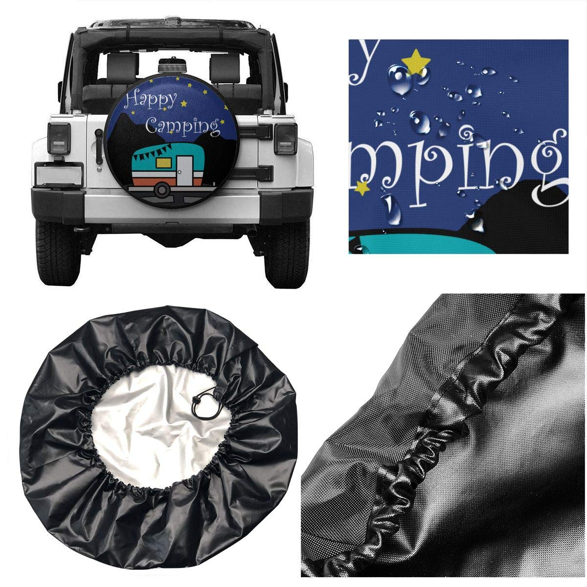 14,15,16,17 Inch Happy Camper Funny Spare Wheel Tire Cover Waterproof for Trailer RV SUV Truck Camper Travel Trailer Accessories