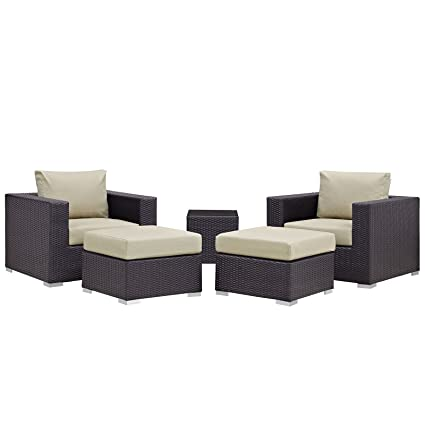 Modway Convene Wicker Rattan 5-Piece Outdoor Patio Furniture Set in  Espresso Beige - Amazon.com : Modway Convene Wicker Rattan 5-Piece Outdoor Patio