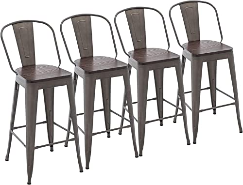 Yongchuang Metal Barstools 30″ Seat Height High Back Bar Stools Industrial Kitchen Dining Stools Bar Chair