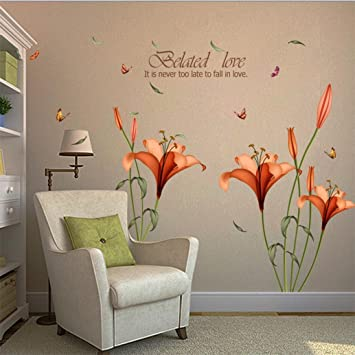 Amazon.com: Wall Sticker, Hatop Red Lily Flower Wall Stickers ...