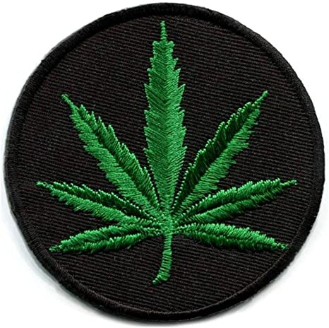 """MARIJUANA LEAF IRON ON PATCH 3.2/"""" Round Pot Weed Hippie Embroidered Applique NEW"""