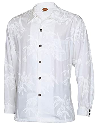 e630fa79 Long Sleeves Hawaiian Wedding Shirt Rayon Tropical Bamboo Design (S, WHITE)