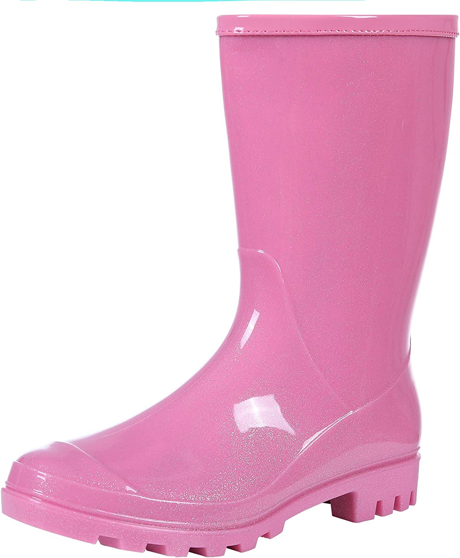 Evshine Women's Mid Calf Rain Boots Waterproof Garden Shoes