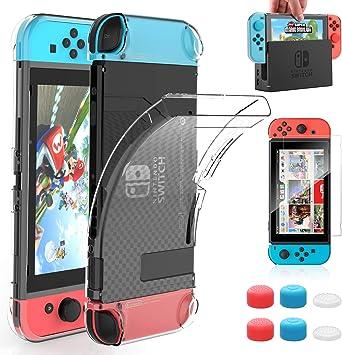 HEYSTOP Carcasa Nintendo Switch, Funda Nintendo Switch con Protector de Pantalla para Nintendo Switch Console y Joy Cons con 6 Agarres para el Pulgar: Amazon.es: Electrónica