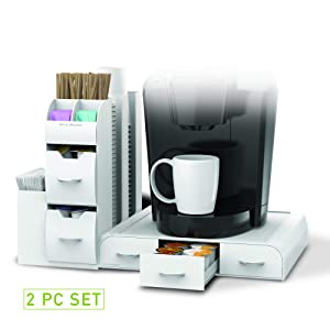 "Mind Reader ""Combine"" 2-Piece Single Serve Coffee Pod Drawer and Condiment Organizer Station, White"