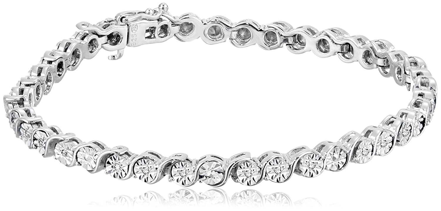 Sterling Silver Diamond Tennis Bracelet with Miracle Plating (1/10 cttw, I-J Color, I2-I3 Clarity) Amazon Collection B15105DISS