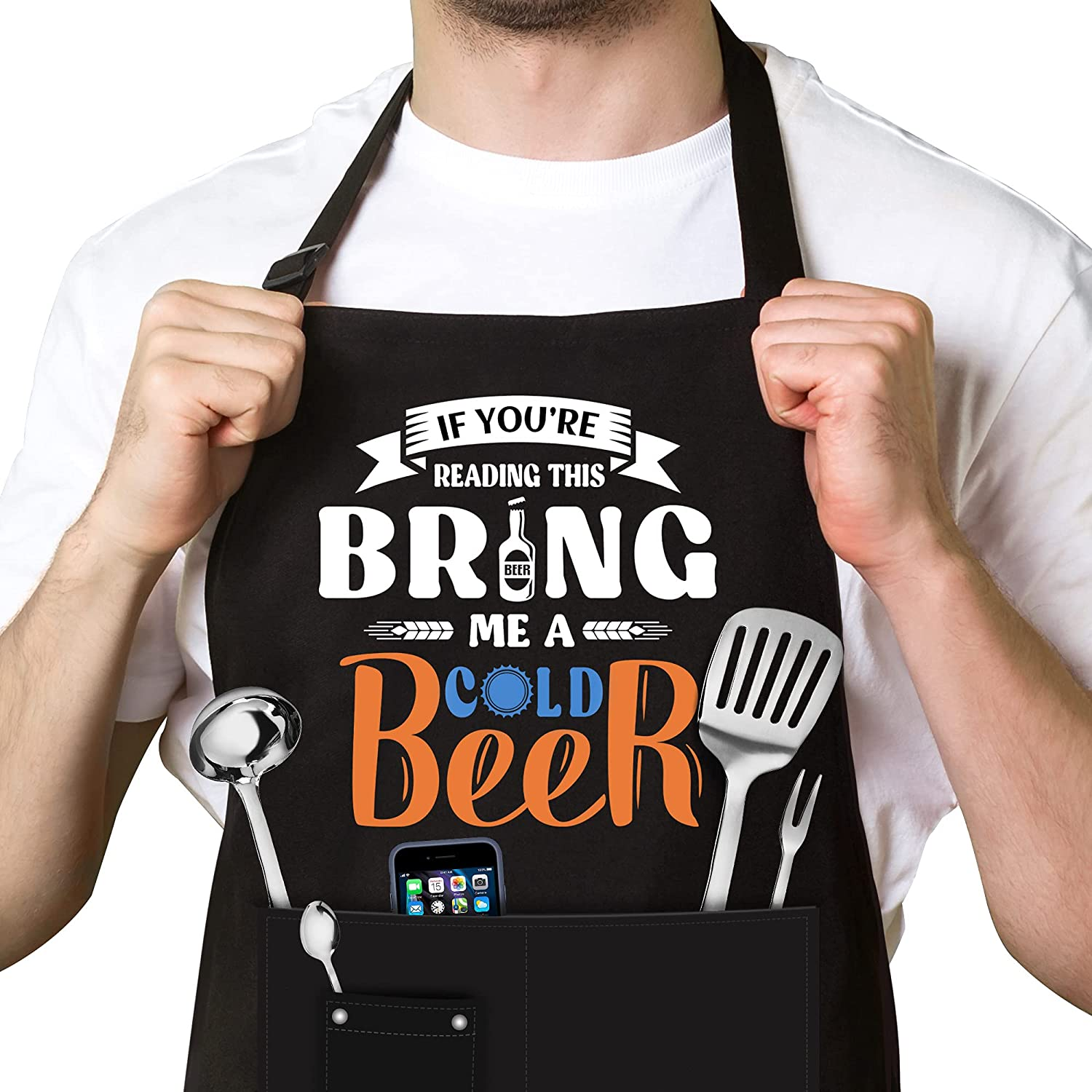 Funny Apron for Men, Personalized Birthday Gifts, Gift for Him from Women, Black Grill Apron for Husband, Dad, Boyfriend, Fiance or any Friend, Grill Cooking BBQ Kitchen Chef Apron with 3 Pockets