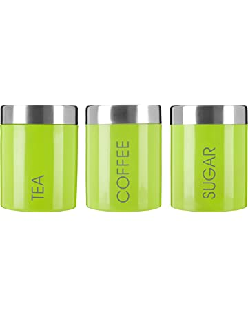 713617cf61d Premier Housewares Liberty Tea Coffee and Sugar Canisters - Set of 3, Lime  Green