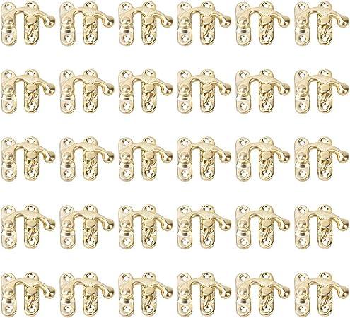 HEEPDD 30 Piezas de cerrojos de Cerradura de Caja pequeña, Cerrojo de Gancho de Cerradura Derecho Antiguo Cerradura de Gancho de Cerrojo de Hierro(Cerrojo de Gancho de Enganche Derecho Amarillo): Amazon.es: Hogar
