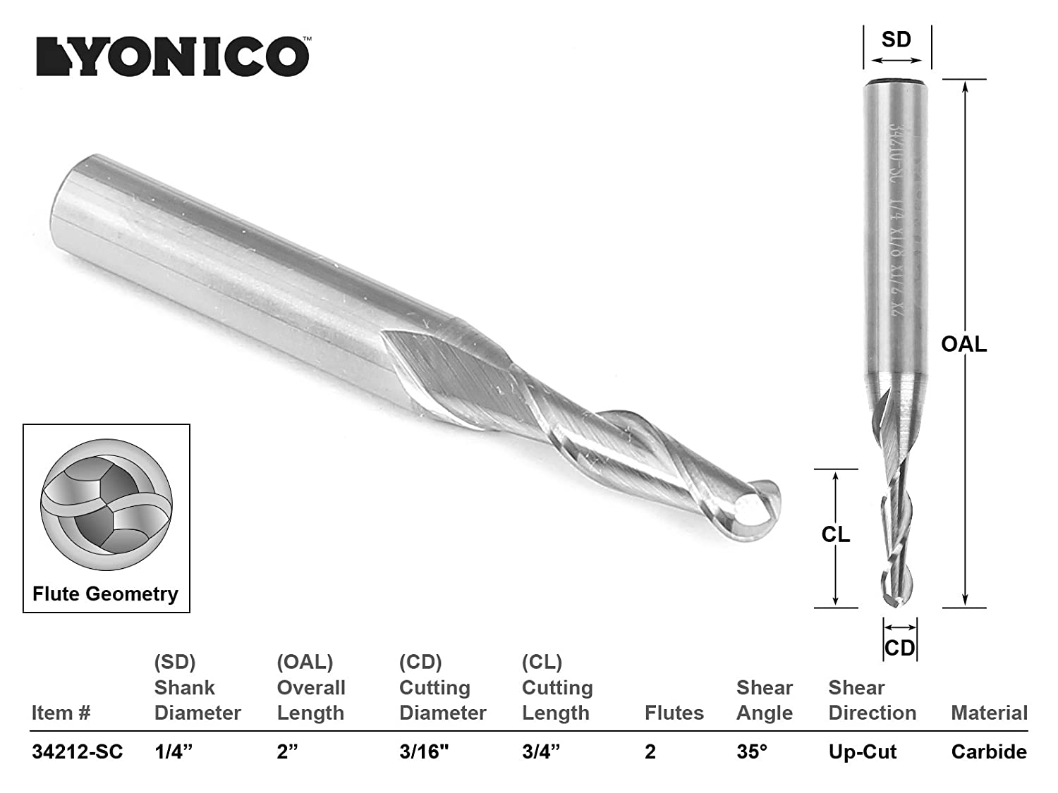 1//4 Shank Yonico 37413-SC 1//8 Tapered Ballnose ZRN Coated CNC Router Bit