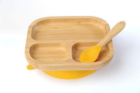 Colores Surtidos Set de Placa Divisoria y Cuchara de Bamb/ú para Beb/é con Succi/ón Tiny Chipmunk Perfecto para Destete Yellow Libre de BPA