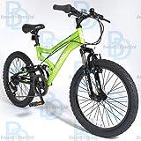 "Muddyfox Cyclone 20"" Boys Dual Suspension Bike - Green and Black - NEW 2015 SUMMER RANGE"