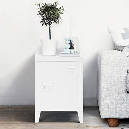 FurnitureR Storage Cabinet,Metal Side End Table Bedroom Night Stand Sideboard Cupboard Console Stand White