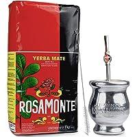 Yerba Mate Rosamonte Traditional 1 kg Mate Tee Set: Yerba Matebecher - Kalebasse   Yerba Mate Tee Strohhalm - Bombilla…