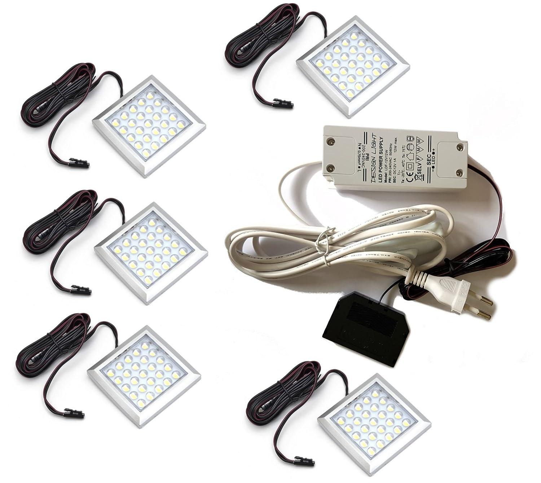 5er Set LED groß Alu quadrat Rein Weiß Aufbauleuchte Küchenleuchten