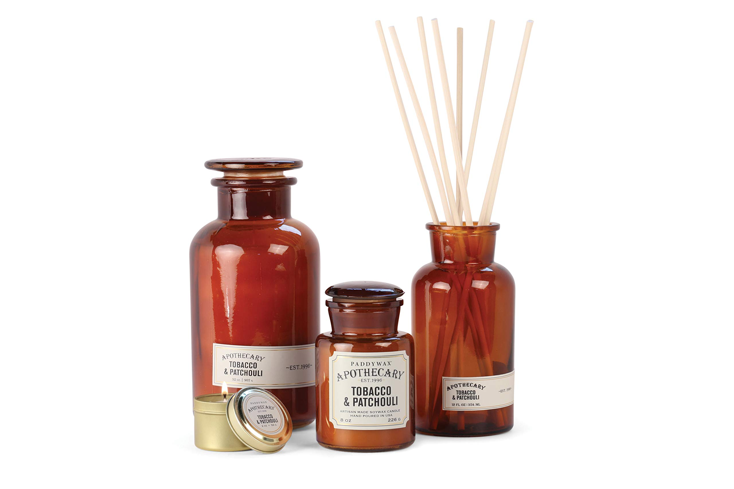 Paddywax Candles Apothecary Collection Soy Wax Blend Candle in Glass Jar, Medium, 8 Ounce, Tobacco & Patchouli