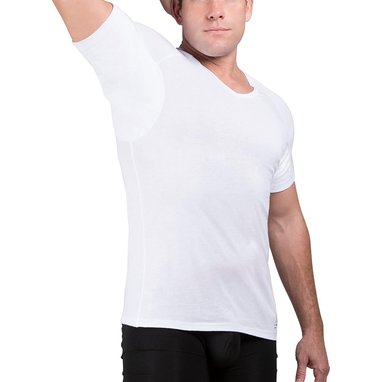 Ejis Sweat Proof Undershirts Men w/Sweat Pads & Real Silver, Cotton V Neck