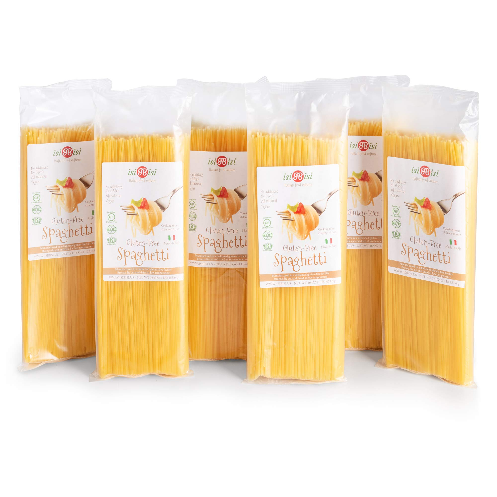 isiBisi Spaghetti Gluten Free Pasta - Rice and Corn Flour - Made in Italy (96 oz - 6 Pack) by isiBisi