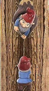 Arriveok Climbing Gnomes Tree Hugger Decor Garden Gnomes Tree Sculpture Outdoor Whimsical Tree Statue-Garden Yard Art Decoration Ornaments