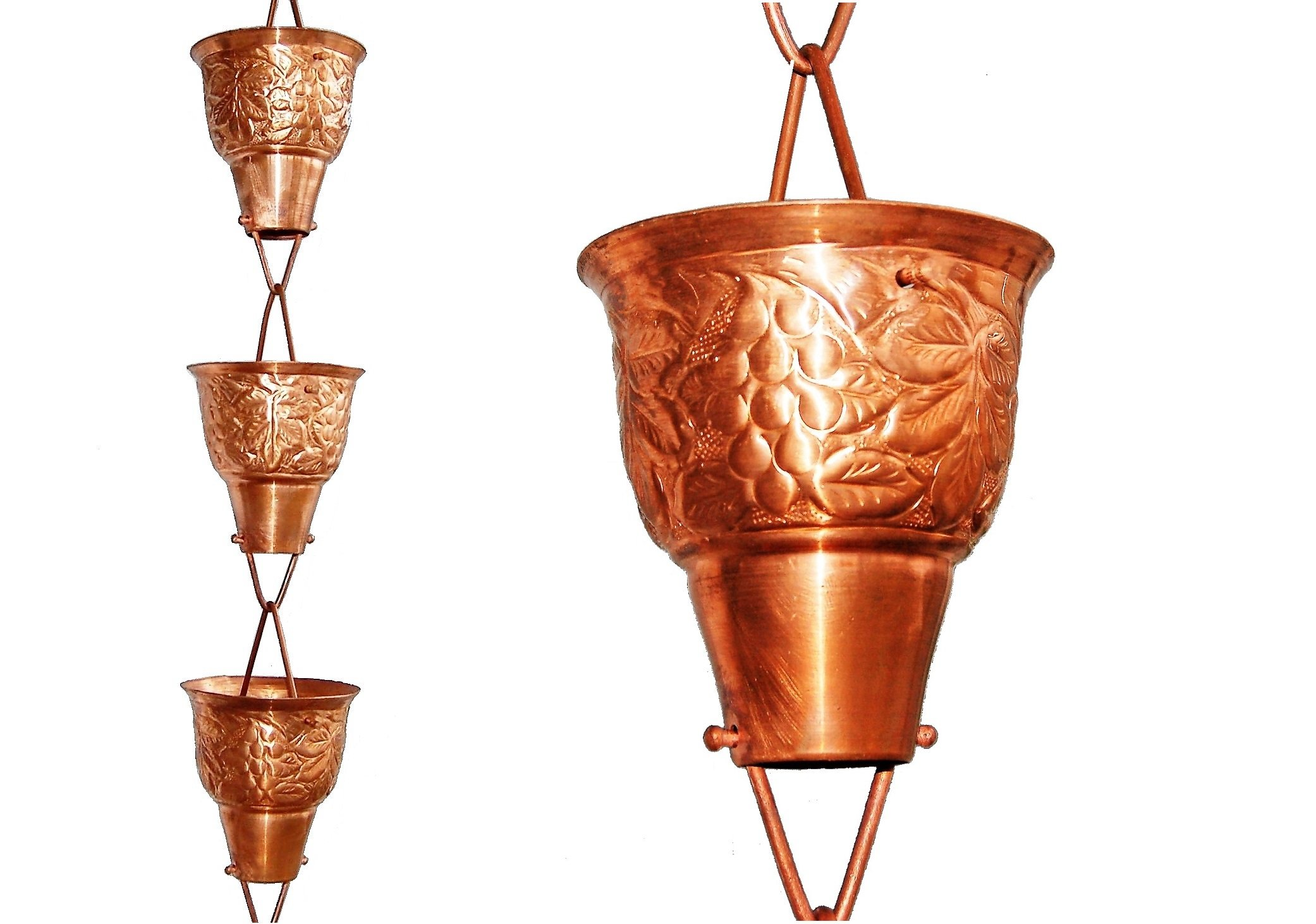 U-nitt 8-1/2 feet Pure Copper Rain Chain: Grape Vine Embossed 8.5 ft Length #5502