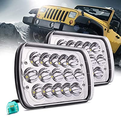 MICTUNING 2Pcs 5x7 7x6 Led Headlights Rectangular Hi Lo Led Sealed Beam H6054 6053 6052 5054 Headlamp Replacement for Jeep Wrangler YJ XJ MJ Chevy: Automotive