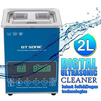 FLOUREON Limpiador Turbo Power 2L con Pantalla digital de Ultrasonidos EU Para limpiar objetos delicados de
