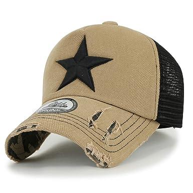 00581a4c ililily Star Embroidery tri-Tone Trucker Hat Adjustable Cotton Baseball Cap  (Medium, Beige