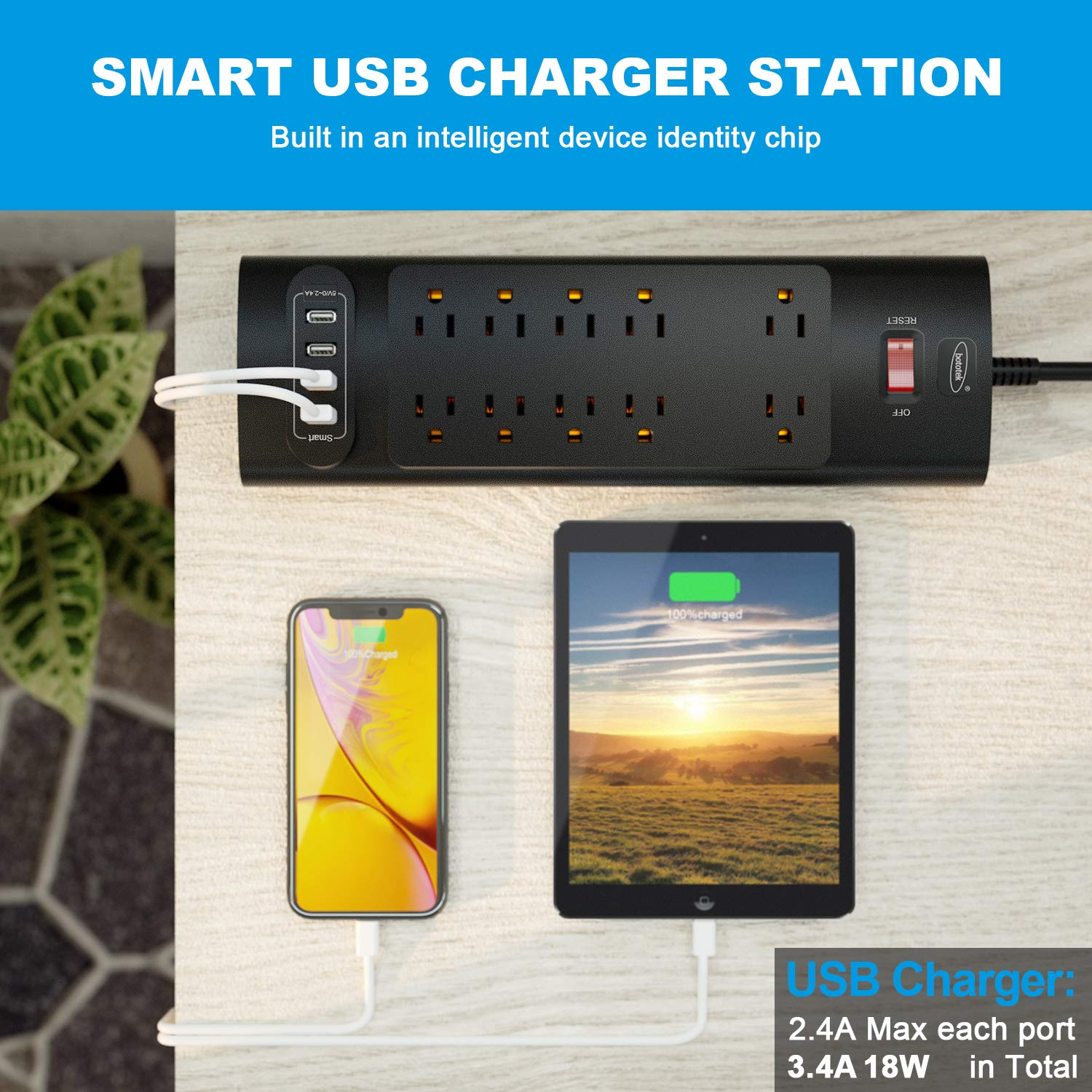 Power Strip, Bototek Surge Protector with 10 AC Outlets and 4 USB Charging Ports,1625W/13A 6 Feet Long Extension Cord for Smartphone Tablets Home,Office & Hotel- Black by bototek (Image #6)