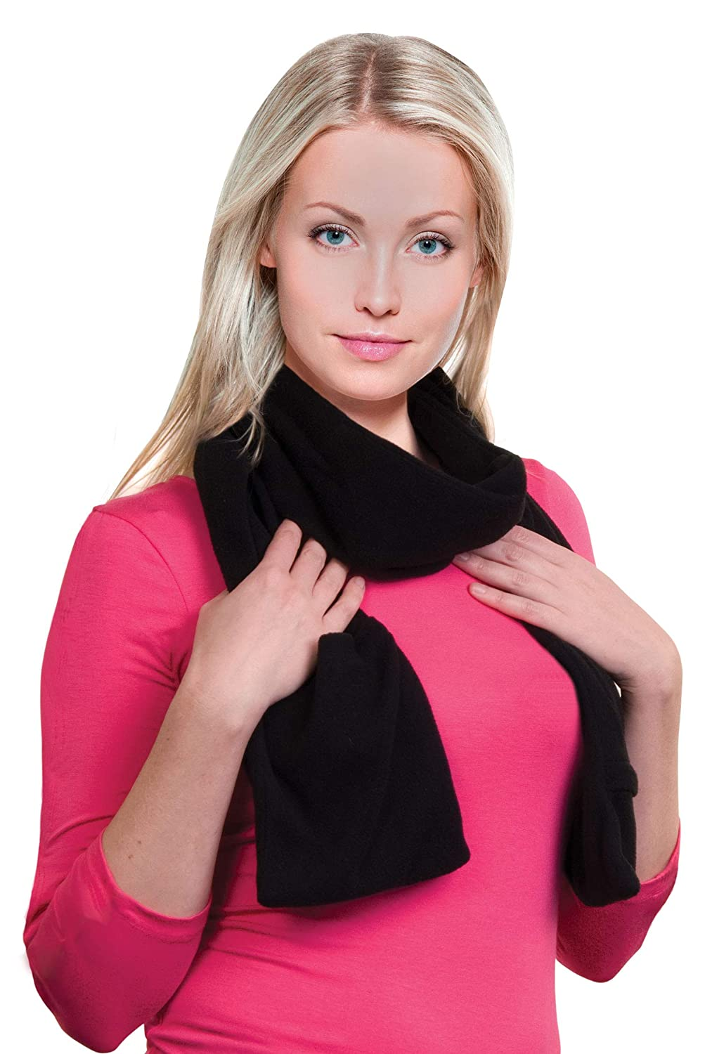 Heated Scarf with Neck Heat Pad Heated Clothing for Men Electric Battery Operated Heated Neck Wrap Cold Weather Neck Warmer Fleece Scarf with Pockets to Keep Hands Warm Heated Scarves for Women