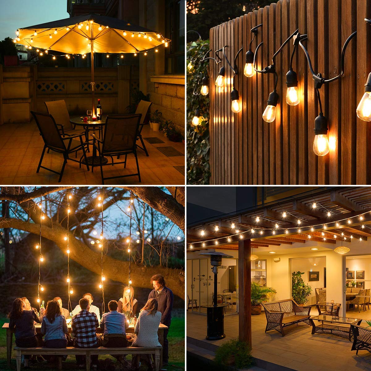 ECOWHO Outdoor String Lights, Waterproof LED Patio String Lights Hanging E26 Sockets UL Listed for Yard Bistro Pergola Wedding Gathering Party Garden (52ft Outdoor Patio Lights)