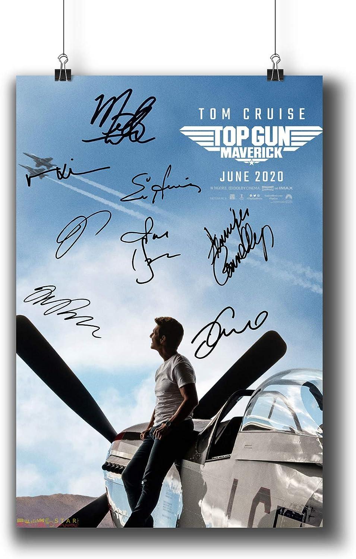 Pentagonwork Top Gun: Maverick Casts Signed Reprint Movie Poster 8.3x11.7 A4 Prints w/Stickers 2020 Film, Tom Cruise Miles Teller Autographed, 642-101