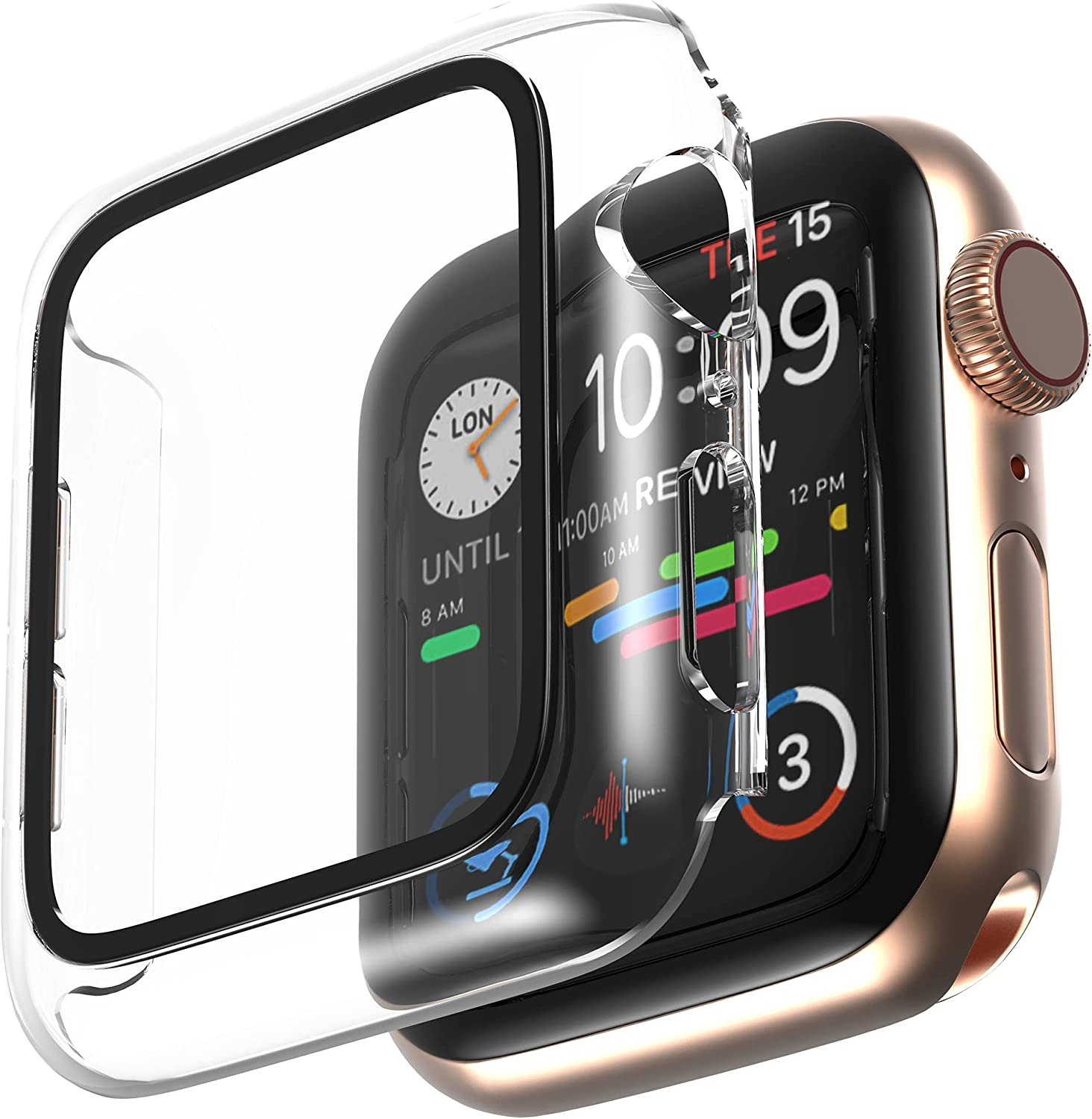 AMUTUR Case Compatible with Apple Watch 40mm Series SE 6 5 4 with Built in Tempered Glass Screen Protector , Hard PC Edge Anti Scratch Thin - Protective Bumper Cover Compatible for iWatch 40mm[Clear]