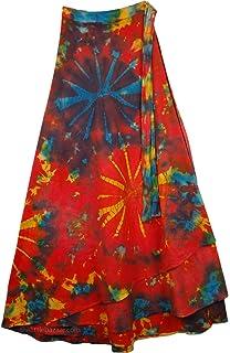 TLB Roma Bohemian Wrap Around Long Skirt 37.5 3291 Black Tie Dye L