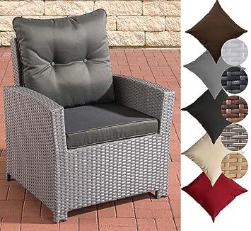 CLP Polyrattan Sessel FISOLO Inklusive Sitzkissen I Robuster Gartenstuhl  Mit Einem Untergestell Aus Aluminium I